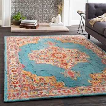 Surya Hannon Hill Teal / Saffron / Bright Red / Burnt Orange Rectangular Area Rug