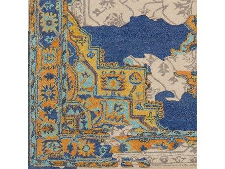 Surya Hannon Hill Dark Blue / Khaki / Aqua / Burnt Orange Square Sample