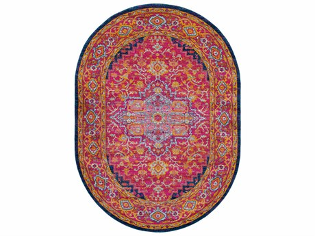 Surya Harput Garnet / Dark Blue Saffron Burnt Orange Teal White Oval Area Rug