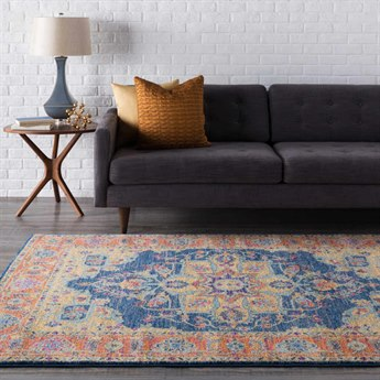 Surya Harput Rectangular Navy, Burnt Orange & Gold Area Rug