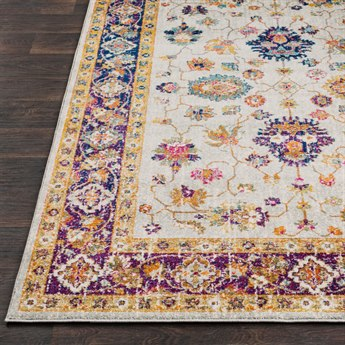 Surya Harput Rectangular Ivory, Burnt Orange & Violet Area Rug