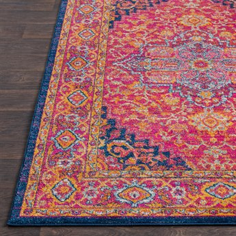 Surya Harput Rectangular Bright Pink, Burnt Orange & Navy Area Rug