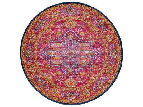 Surya Harput Garnet / Dark Blue Saffron Burnt Orange Teal White Round Area Rug