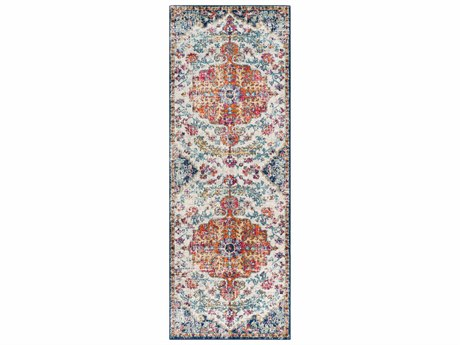 Surya Harput Saffron / Light Gray Charcoal Teal Dark Blue Garnet Burnt Orange Beige Runner Area Rug