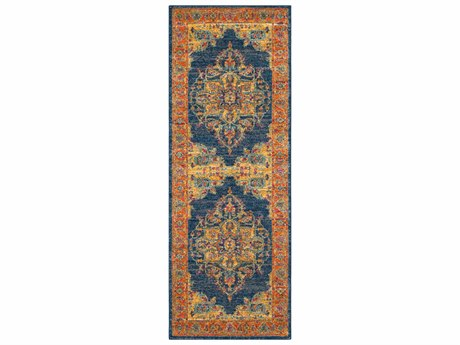 Surya Harput Teal / Burnt Orange Saffron Garnet Dark Blue Light Gray White Runner Area Rug