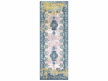 Surya Harput Saffron / Aqua Navy White Light Gray Taupe Runner Area Rug