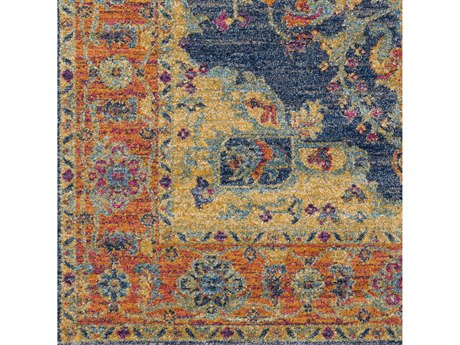 Surya Harput Teal / Burnt Orange Saffron Garnet Dark Blue Light Gray White Square Sample