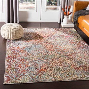 Surya Herati Bright Pink / Dark Red / Orange / Green Rectangular Area Rug