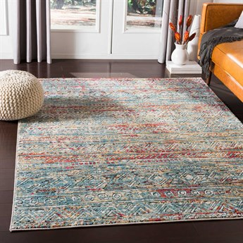 Surya Herati Aqua / Dark Red / Orange / Green Rectangular Area Rug