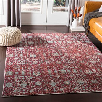 Surya Herati Dark Red / Pink / White Rectangular Area Rug