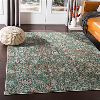 Surya Herati Dark Green / Orange / White Rectangular Area Rug