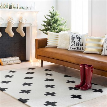 Surya Hilda Cream / Black Rectangular Area Rug