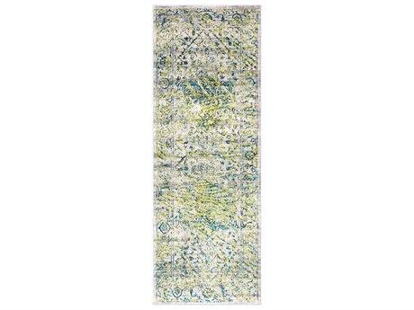 Surya Himalayan Grass Green / Bright Blue Saffron Lavender Medium Gray Black Runner Area Rug