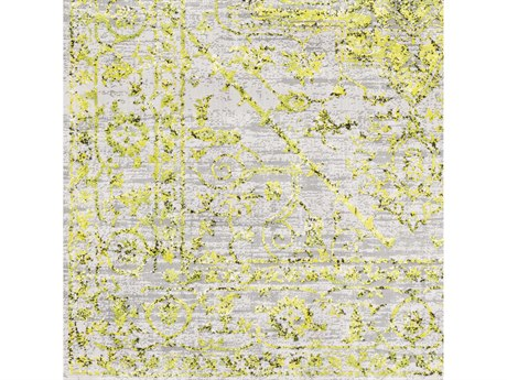 Surya Himalayan Bright Yellow / Grass Green Lavender Medium Gray Black White Square Sample