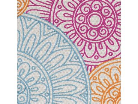 Surya Jolene Bright Pink / Olive / Yellow Square Sample