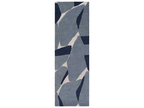Surya Kennedy 2'6'' x 8' Rectangular Dark Blue, Navy & Light Gray Runner Rug