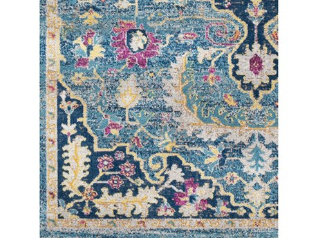 Surya Konya Teal / Navy Butter Cream Light Gray Fuchsia Saffron Eggplant Square Sample
