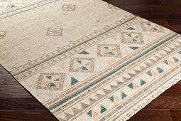 Lenora Rectangular Dark Brown, Emerald & Camel Area Rug
