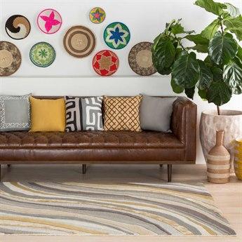 Surya Lounge Medium Gray / Charcoal Bright Yellow Taupe Ivory Wheat Dark Green Camel Light Rectangular Area Rug