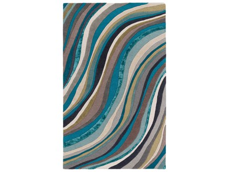 Surya Lounge Teal / Aqua Taupe Cream Dark Brown Ink Rectangular Area Rug