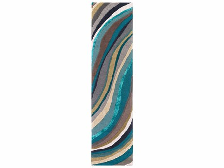 Surya Lounge Teal / Aqua Taupe Cream Dark Brown Ink Runner Area Rug