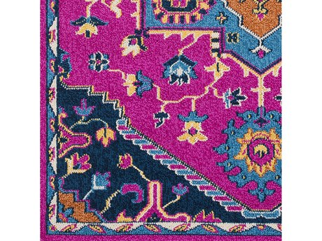 Surya Love Bright Pink / Sky Blue Navy Peach Burnt Orange Yellow Ivory Square Sample