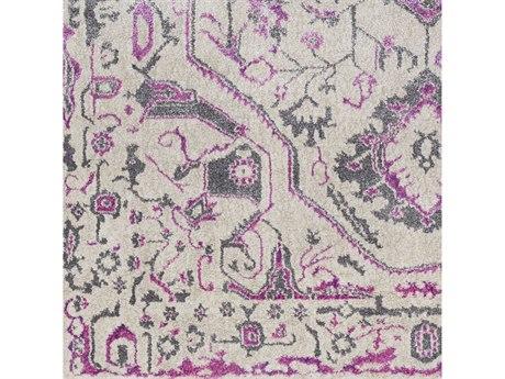 Surya Marrakesh Bright Pink / Khaki Charcoal Purple Square Sample