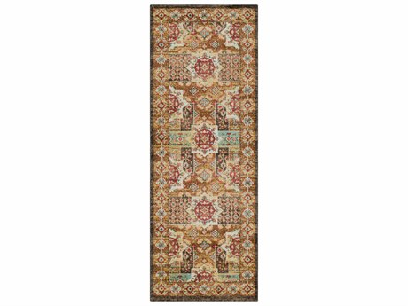 Surya Masala Market Bright Yellow / Dark Brown Burnt Orange Rust Sea Foam Cream Khaki Runner Area Rug