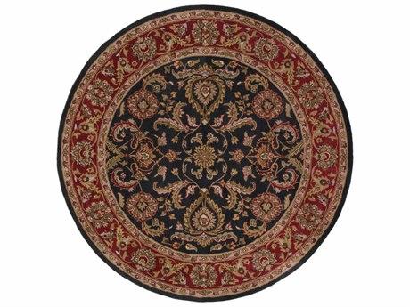 Surya Middleton Bright Red / Charcoal Mustard Dark Brown Olive Tan Ivory Aqua Round Area Rug