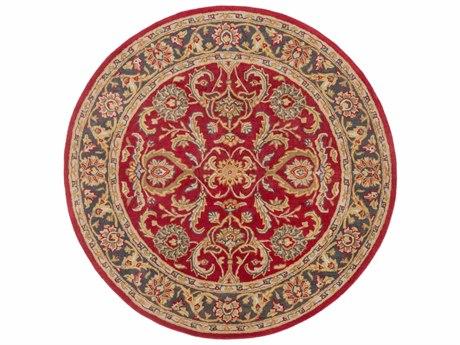 Surya Middleton Bright Red / Charcoal / Mustard / Dark Brown Round Area Rug