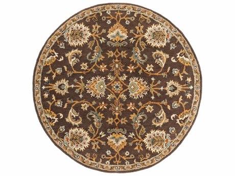 Surya Middleton Dark Brown / Camel Ivory Olive Teal Mustard Round Area Rug
