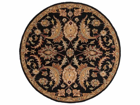Surya Middleton Black / Camel Khaki Medium Gray Olive Burgundy Round Area Rug