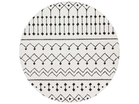 Surya Moroccan Shag Black / Charcoal / White Round Area Rug