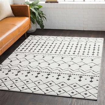 Surya Moroccan Shag Black / Charcoal White Rectangular Area Rug