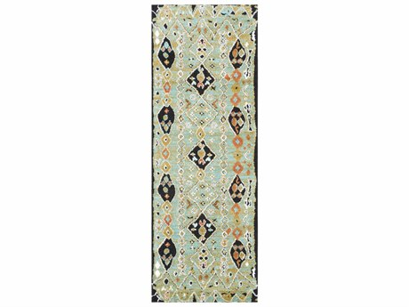 Surya Moroccan Shag Aqua / Bright Orange Yellow Charcoal White Runner Area Rug