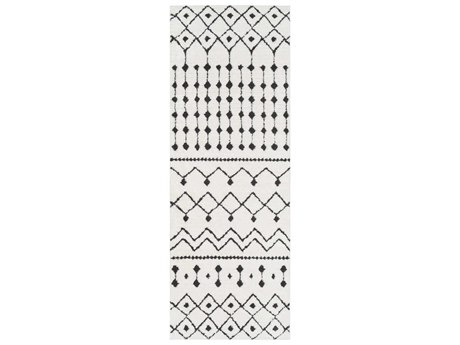 Surya Moroccan Shag Black / Charcoal White Runner Area Rug
