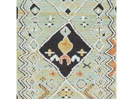 Surya Moroccan Shag Aqua / Bright Orange Yellow Charcoal White Square Sample