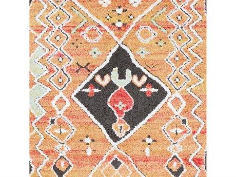 Surya Moroccan Shag Aqua / Dark Green White Black Medium Gray Bright Pink Yellow Orange Square Sample