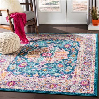 Surya Morocco Teal / Pale Blue Navy Fuchsia Coral Camel Light Gray Saffron Bright Yellow Orange Charcoal Red Beige White Rectangular Area Rug