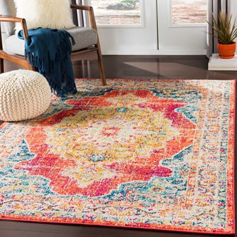 Surya Morocco Bright Orange / Coral Teal Navy Fuchsia Saffron Yellow Pale Blue Light Gray Camel Red Beige White Rectangular Area Rug