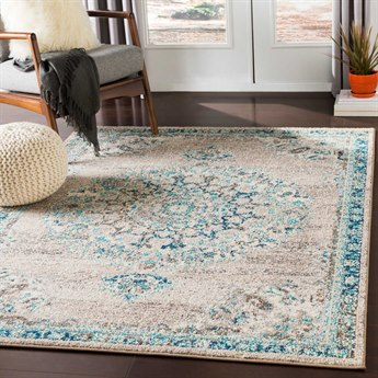 Surya Morocco Light Gray / Camel Teal Pale Blue Charcoal Navy Beige White Rectangular Area Rug