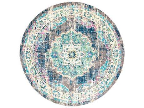 Surya Morocco Navy / Teal / Pale Blue / Fuchsia Round Area Rug