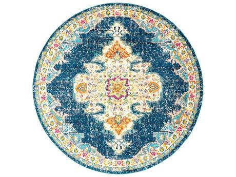 Surya Morocco Teal / Navy / Yellow Round Area Rug