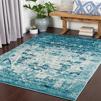 Surya Mumbai Aqua / Sky Blue / White / Black Rectangular Area Rug