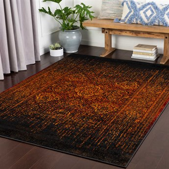 Surya Mumbai Saffron / Burnt Orange / Dark Red / Black Rectangular Area Rug