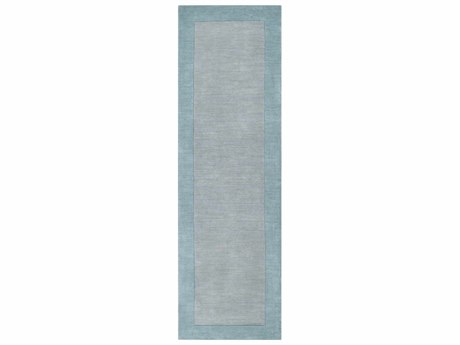 Surya Mystique Medium Gray / Aqua Runner Area Rug