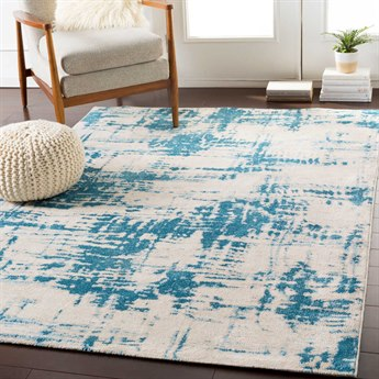 Surya Notting Hill Teal / Pale Blue Beige White Rectangular Area Rug