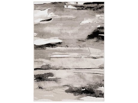 Surya Nova Light Gray / Medium Charcoal Black Ivory Rectangular Area Rug