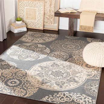 Surya Oslo Charcoal / Light Gray / Cream Rectangular Area Rug
