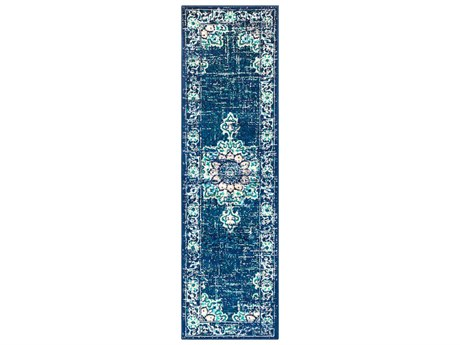 Surya Paramount Dark Blue / Teal / Aqua / Cream / Light Gray Runner Area Rug